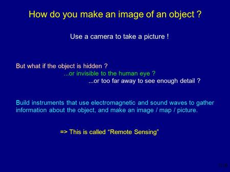 1 /16 How do you make an image of an object ? Use a camera to take a picture ! But what if the object is hidden ?...or invisible to the human eye ?...or.