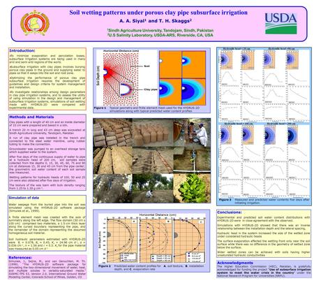 Soil wetting patterns under porous clay pipe subsurface irrigation A. A. Siyal 1 and T. H. Skaggs 2 1 Sindh Agriculture University, Tandojam, Sindh, Pakistan.