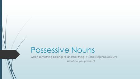 Possessive Nouns When something belongs to another thing, it is showing POSSESSION! What do you possess?