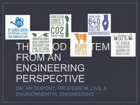 THE FOOD SYSTEM FROM AN ENGINEERING PERSPECTIVE DR. RR DUPONT, PROFESSOR CIVIL & ENVIRONMENTAL ENGINEERING.