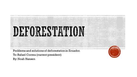 Problems and solutions of deforestation in Ecuador. To: Rafael Correa (current president) By: Noah Hansen.