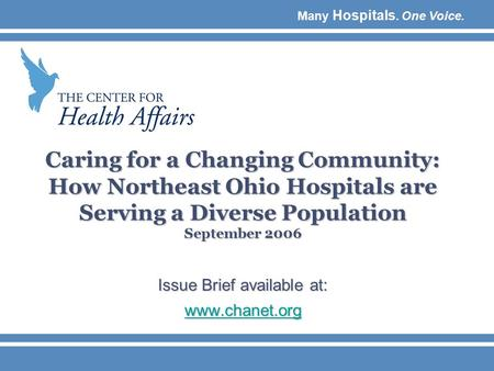 Many Hospitals. One Voice. Caring for a Changing Community: How Northeast Ohio Hospitals are Serving a Diverse Population September 2006 Issue Brief available.