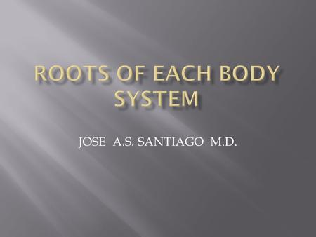 JOSE A.S. SANTIAGO M.D.. 2  Roots grouped according to body systems  Remember each root more easily by associating a mental picture of the organ to.