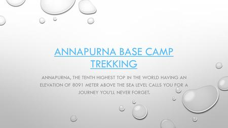 ANNAPURNA BASE CAMP TREKKING ANNAPURNA, THE TENTH HIGHEST TOP IN THE WORLD HAVING AN ELEVATION OF 8091 METER ABOVE THE SEA LEVEL CALLS YOU FOR A JOURNEY.