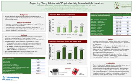 Supporting Young Adolescents' Physical Activity Across Multiple Locations Jordan Carlson 1, Tarrah Mitchell 1,2, Kelsey Borner 1,2, Brian Saelens 3, Jasper.