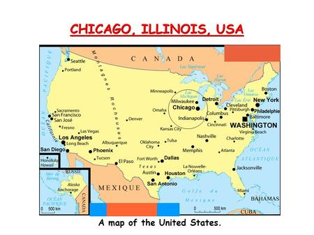Chicago Illinois Usa A Map Of The United States