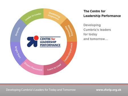 The Centre for Leadership Performance Developing Cumbria's leaders for today and tomorrow…