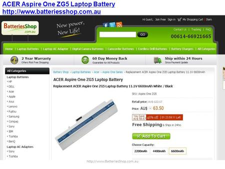 ACER Aspire One ZG5 Laptop Battery