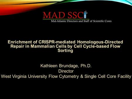 Kathleen Brundage, Ph.D. Director West Virginia University Flow Cytometry & Single Cell Core Facility Enrichment of CRISPR-mediated Homologous-Directed.