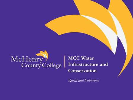 MCC Water Infrastructure and Conservation Rural and Suburban.