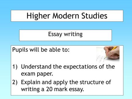higher modern studies essay introductions A series of videos to help pupils studying history and modern studies in scottish schools (nationals, higher and advanced higher levels) visit these website.