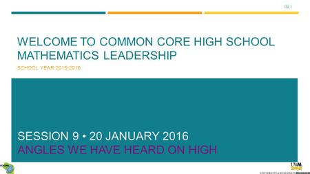 09.1 WELCOME TO COMMON CORE HIGH SCHOOL MATHEMATICS LEADERSHIP SCHOOL YEAR 2015-2016 SESSION 9 20 JANUARY 2016 ANGLES WE HAVE HEARD ON HIGH.