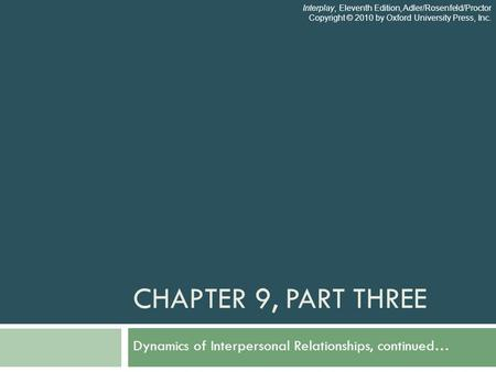 CHAPTER 9, PART THREE Dynamics of Interpersonal Relationships, continued… Interplay, Eleventh Edition, Adler/Rosenfeld/Proctor Copyright © 2010 by Oxford.