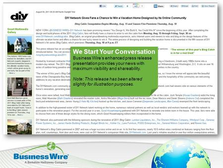 We Start Your Conversation Business Wire's enhanced press release presentation provides your news with maximum visibility and shareability. Note: This.