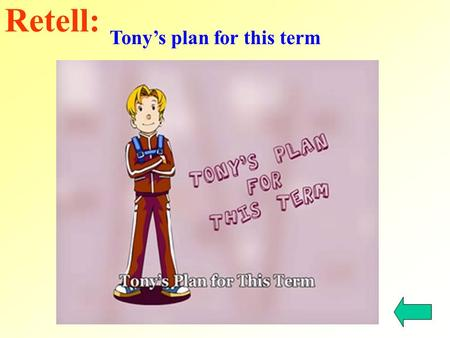 Tony's plan for this term Retell:. have class run get up take a shower go to bed eat dinner play sports do homework runs takes a shower goes to bed plays.