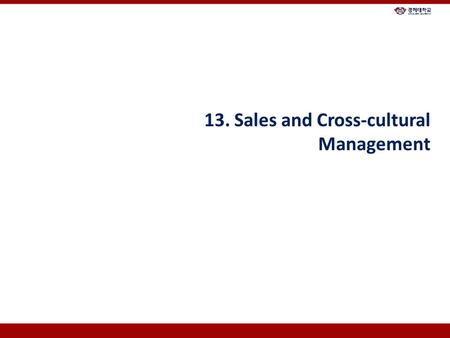 13. Sales and Cross-cultural Management. Chapter Overview 1.Market Entry Options and Salesforce Strategy 2.Cultural Considerations 3.Impact of Culture.