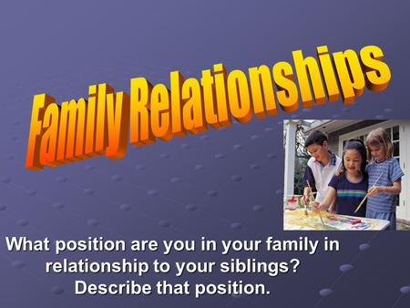 What position are you in your family in relationship to your siblings? Describe that position.
