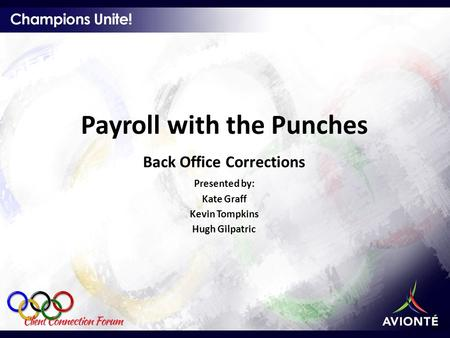 Payroll with the Punches Back Office Corrections Presented by: Kate Graff Kevin Tompkins Hugh Gilpatric.