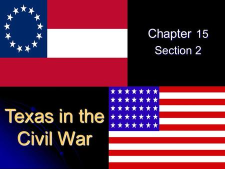 Chapter 15 Section 2 Texas in the Civil War. Civil War Basics Union = the North Confederacy = the South.