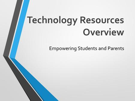 Technology Resources Overview Empowering Students and Parents.