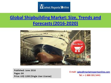 Global Shipbuilding Market: Size, Trends and Forecasts (2016-2020)   Tel: + 1 888 391.