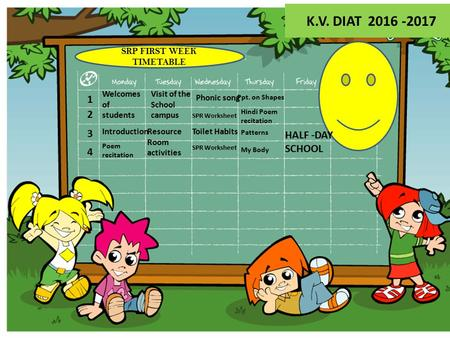 Welcomes of students 1 2 3 4 Introduction Poem recitation Visit of the School campus Resource Room activities Phonic song SPR Worksheet Toilet Habits Ppt.