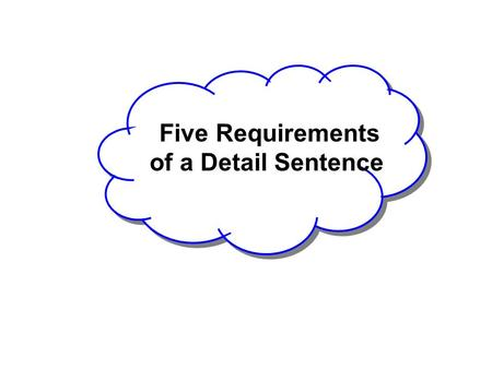 Five Requirements of a Detail Sentence. Let's Review 1. Related Information 2. Logical Sequence SITS 3. Transitions.