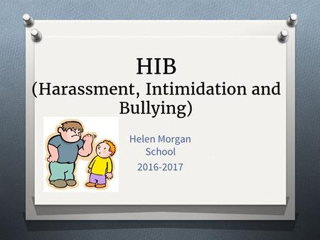 HIB (Harassment, Intimidation and Bullying) Helen Morgan School 2016-2017.