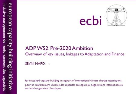 European capacity building initiativeecbi ADP WS2: Pre-2020 Ambition Overview of key issues, linkages to Adaptation and Finance SEYNI NAFO - european capacity.