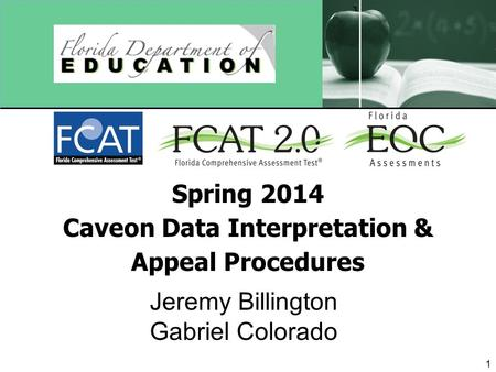 Spring 2014 Caveon Data Interpretation & Appeal Procedures Jeremy Billington Gabriel Colorado 1.