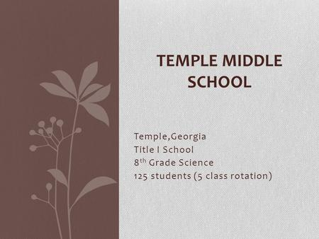 Temple,Georgia Title I School 8 th Grade Science 125 students (5 class rotation) TEMPLE MIDDLE SCHOOL.