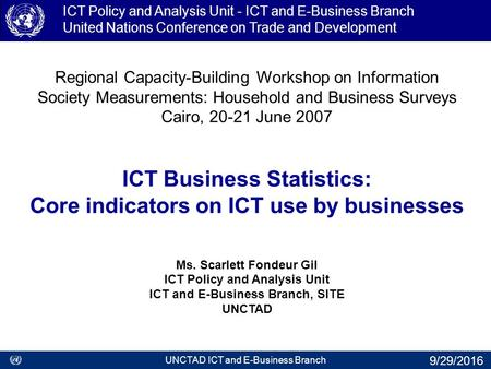 Regional Capacity-Building Workshop on Information Society Measurements: Household and Business Surveys Cairo, 20-21 June 2007 ICT Business Statistics: