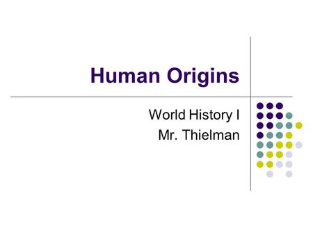 Human Origins World History I Mr. Thielman. What is Prehistory? The period of time before people started writing things down is called Prehistory. Humans.