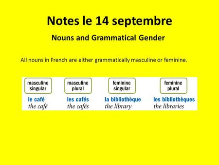 Notes le 14 septembre Nouns and Grammatical Gender All nouns in French are either grammatically masculine or feminine.