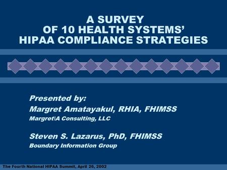 The Fourth National HIPAA Summit, April 26, 2002 A SURVEY OF 10 HEALTH SYSTEMS' HIPAA COMPLIANCE STRATEGIES Presented by: Margret Amatayakul, RHIA, FHIMSS.