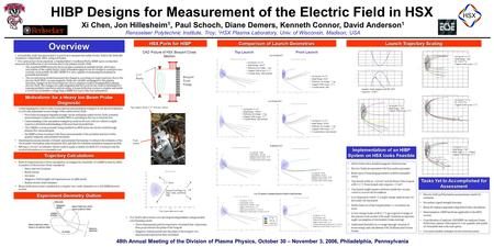 48th Annual Meeting of the Division of Plasma Physics, October 30 – November 3, 2006, Philadelphia, Pennsylvania HIBP Designs for Measurement of the Electric.