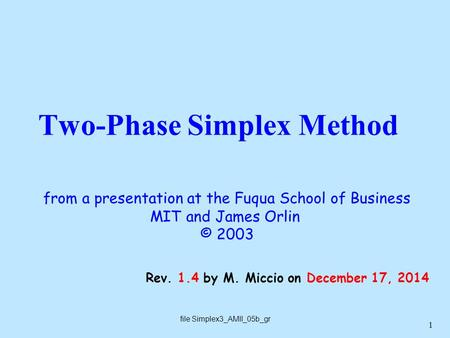1 Two-Phase Simplex Method file Simplex3_AMII_05b_gr Rev. 1.4 by M. Miccio on December 17, 2014 from a presentation at the Fuqua School of Business MIT.
