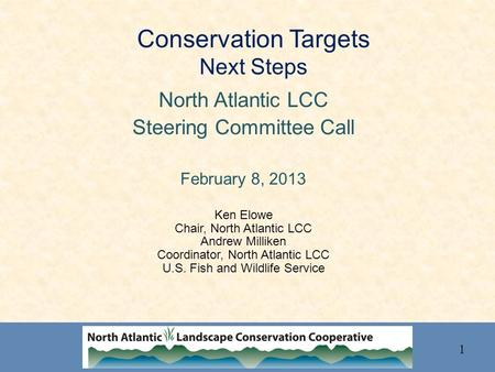Conservation Targets Next Steps North Atlantic LCC Steering Committee Call February 8, 2013 Ken Elowe Chair, North Atlantic LCC Andrew Milliken Coordinator,