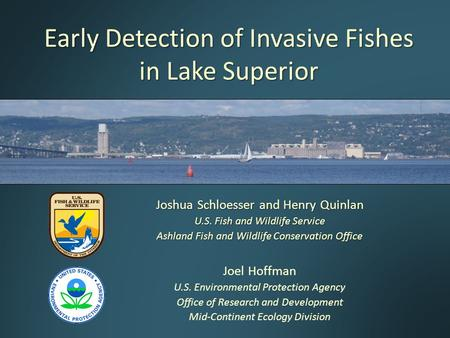 Early Detection of Invasive Fishes in Lake Superior Joshua Schloesser and Henry Quinlan U.S. Fish and Wildlife Service Ashland Fish and Wildlife Conservation.