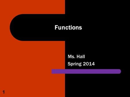 Ms. Hall Spring 2014 1 Functions. Excel – Lesson 4 Summarizing Data with Functions A function is a predefined formula that performs a calculation. When.