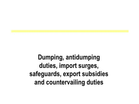 Dumping, antidumping duties, import surges, safeguards, export subsidies and countervailing duties.