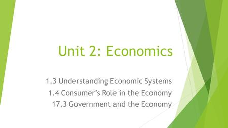 Unit 2: Economics 1.3 Understanding Economic Systems 1.4 Consumer's Role in the Economy 17.3 Government and the Economy.