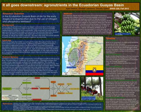 It all goes downstream: agronutrients in the Ecuadorian Guayas Basin Research Question Is the Ecuadorian Guayas Basin at risk for the early stages of eutrophication.