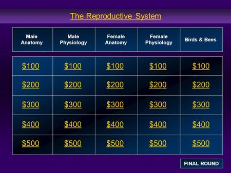 The Reproductive System $100 $200 $300 $400 $500 $100$100$100 $200 $300 $400 $500 Male Anatomy Male Physiology Female Anatomy Female Physiology Birds &