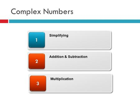 Complex Numbers 22 11 Simplifying Addition & Subtraction 33 Multiplication.
