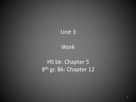 Unit 3 Work HS bk: Chapter 5 8 th gr. Bk: Chapter 12 1.