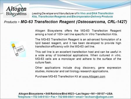 Products > MG-63 Transfection Reagent (Osteosarcoma, CRL-1427) Altogen Biosystems offers the MG-63 Transfection Reagent among a host of 100+ cell line.