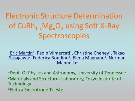 Electronic Structure Determination of CuRh 1-x Mg x O 2 using Soft X-Ray Spectroscopies.