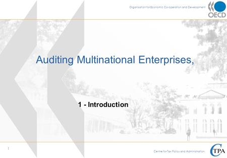 1 International Tax Avoidance and Evasion 1 - Opening and Introduction Ankara, 7-11 May 2007 MULTILATERAL TAX NETWORK Auditing Multinational Enterprises,