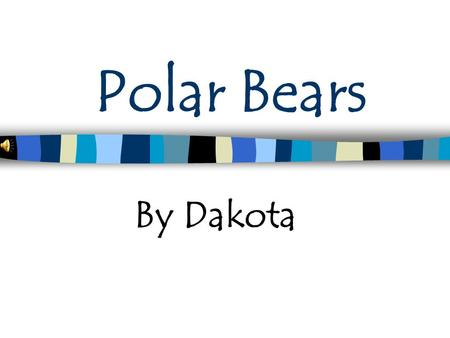Polar Bears By Dakota Introduction My animal is a polar bear. I chose a polar bear because I think they are interesting.